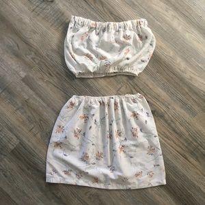 Handmade tube top and skirt matching set